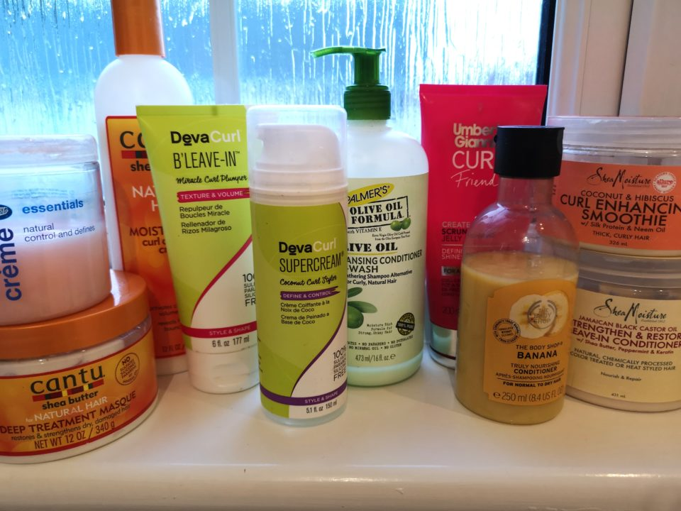 Various products suitable for curly girl method