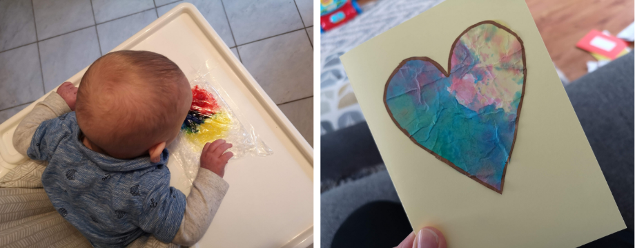 Baby painting and homemade card