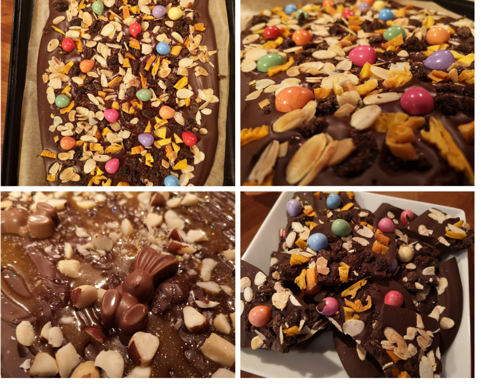 Chocolate bark topped with fruit, nuts and chocolate eggs