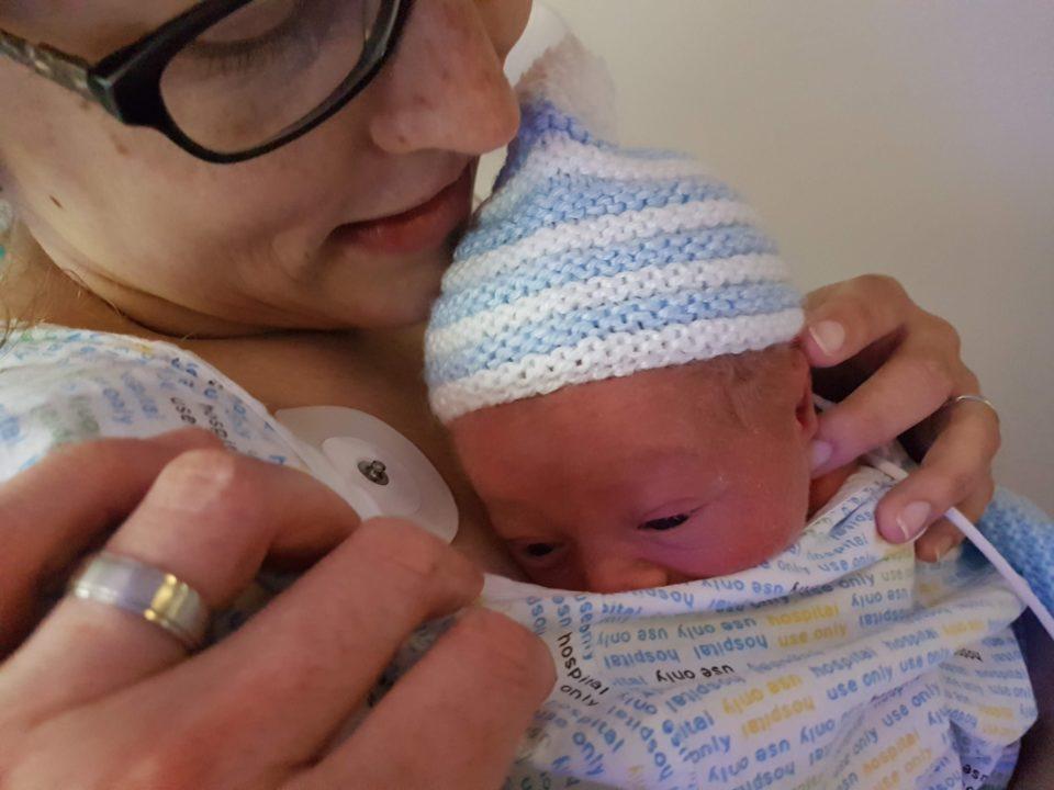 Mum and new baby having skin to skin