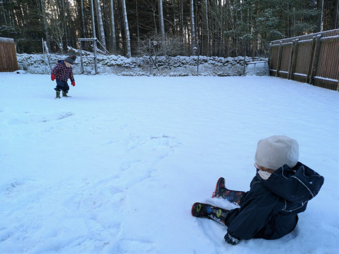 Baby sitting in snow with toddler in background